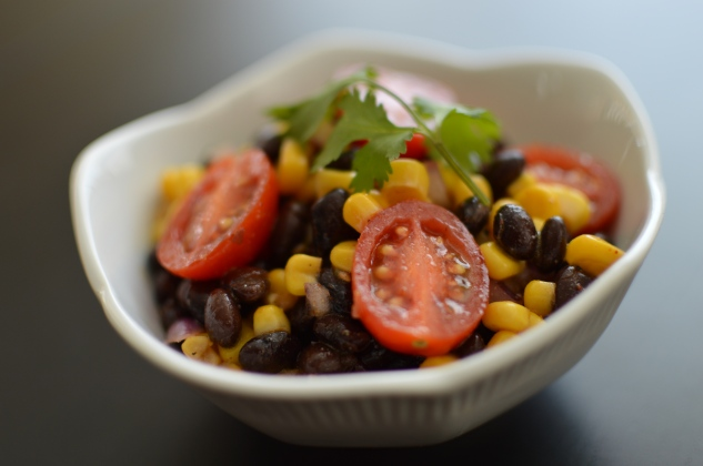 black bean salad up close