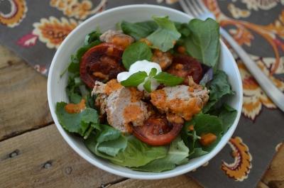 Spicy Pork Tenderloin Salad with Harissa Yogurt Dressing
